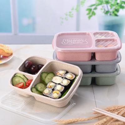 Kapak EEA1899 ile Öğrenci Öğle Kutu 3 Izgara Buğday Straw Biyobozunur Mikrodalga Bento Box çocuklar Gıda Saklama Kutusu Okulu Gıda Kapları