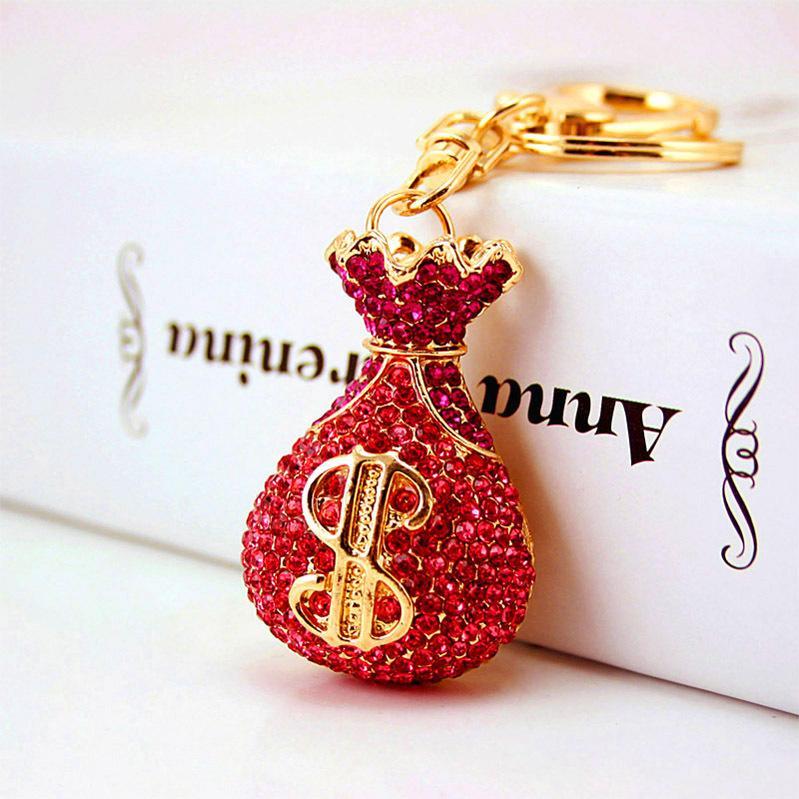Nova Carteira Moneybag Bolsa-de-rosa de cristal Rhinestone Pingente encanto bolsa chaveiro cadeia presente de aniversário criativo