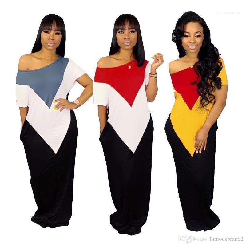 فساتين نصب منصة المرأة اللون فساتين قصيرة الأكمام الجيب غير المتكافئة الكاحل طول اللباس البوهيمي أزياء الصيف عارضة