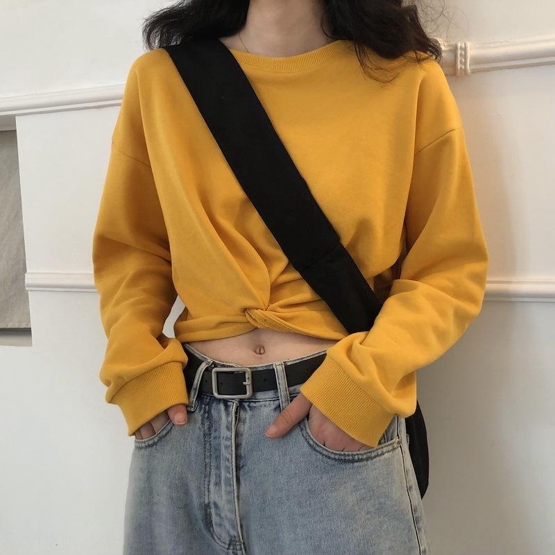 2020 Autunno New High ombelico della vita nodo coreano girocollo breve allentato maglione pullover delle donne dimagrante pullover maniche lunghe tendenza maglione 5S