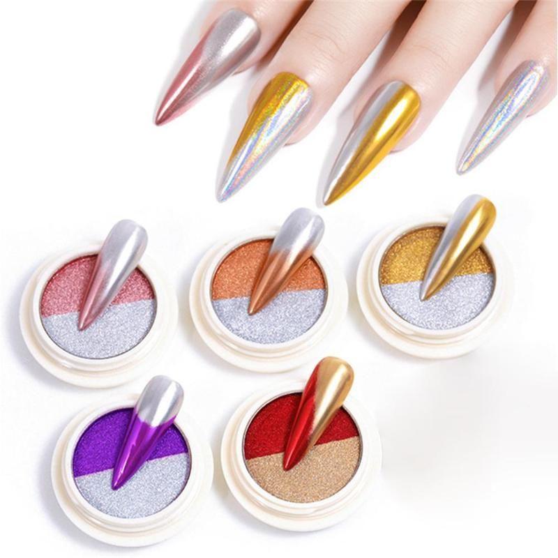 Çift Renkli Ayna Tırnak Toz Parlayan Glitter Pullarda DIY Manikür Dekorasyon Köpüklü Flakes Pigment Manicur Nail Art