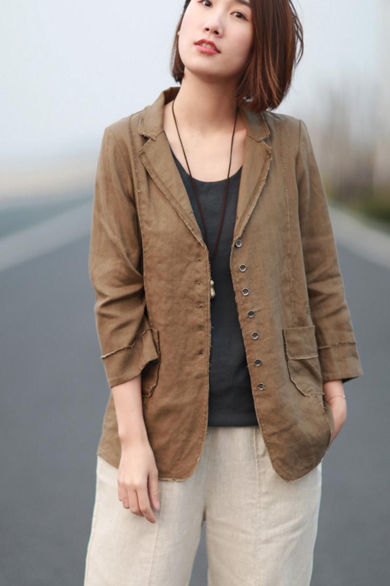 rGTnH A6CMB die künstlerische Art kleines Jackett neue Frauen lösen Mantel und Baumwoll-Leinen-beiläufige Baumwolle und Leinen kleinen Anzug Art und Weise Allgleiches slimm