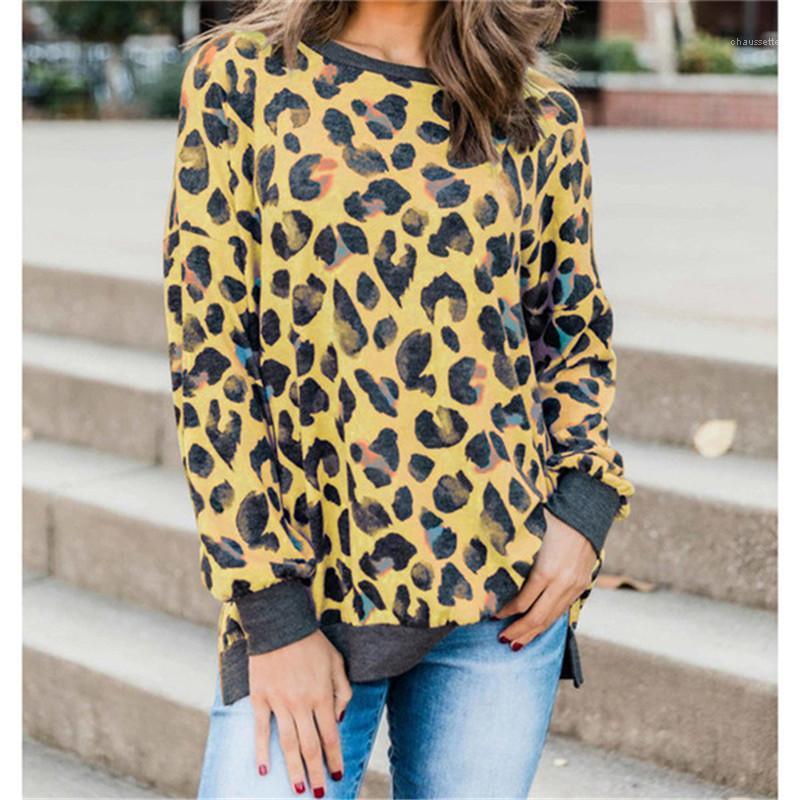 Kontrast Renk Gevşek Kadın Giysileri Bayan Tasarımcı Leopar Kapüşonlular Uzun Kollu O Boyun Bayanlar Tişörtü Moda
