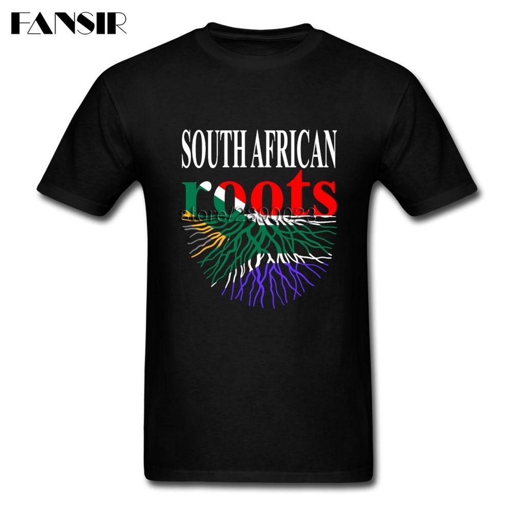 South African Roots Южная Африка Флаг заказуНаша Футболки с коротким рукавом Мужской Crewneck Хлопок Мужчины T Shirt