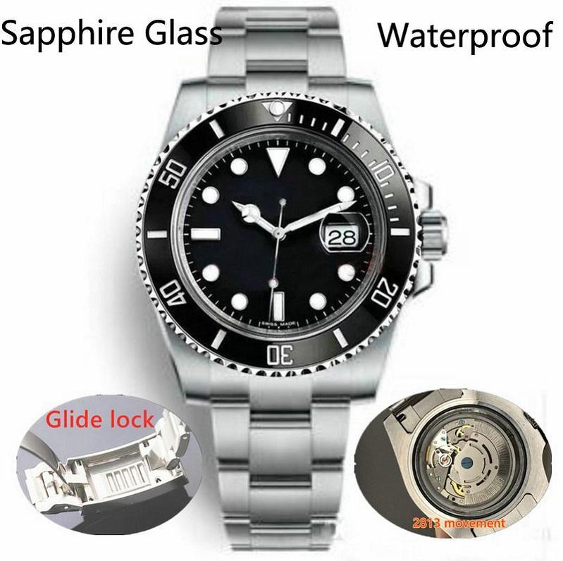 Glide Lock Block Gettone in ceramica Zaffiro Glass Mens 2813 Movimento automatico meccanico SS Moda orologio da uomo Orologi da uomo Orologi da polso da uomo BTTE