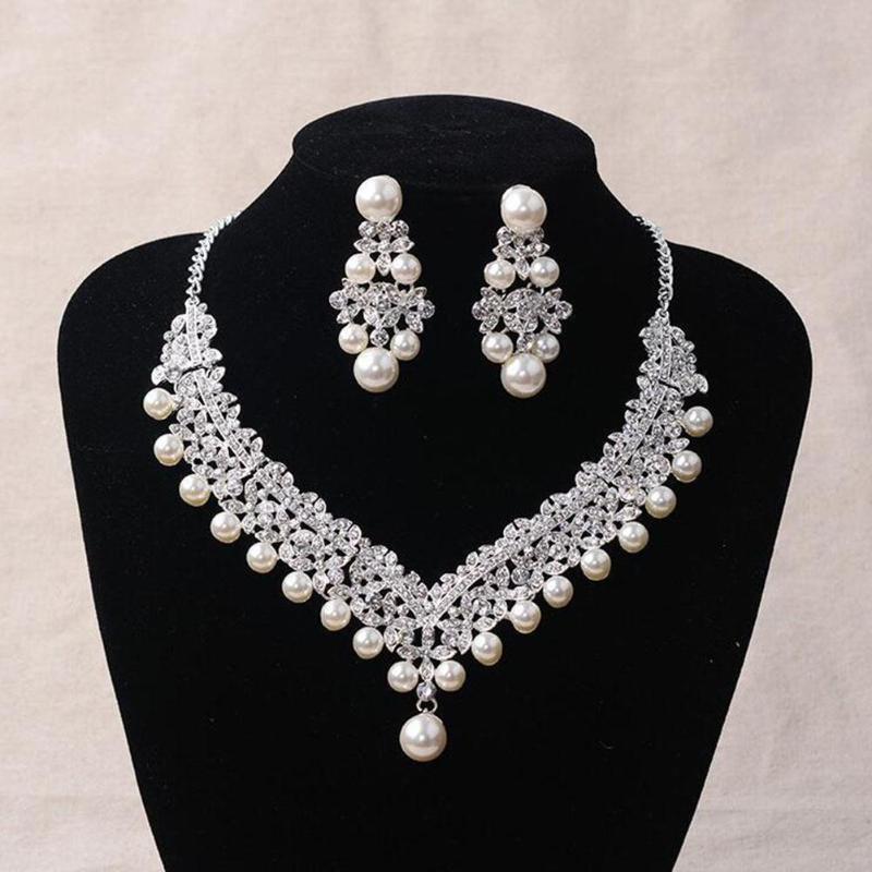 Women Faux Pearl Rhinestone Pendant Necklace Earrings Crown Tiara Jewelry Set