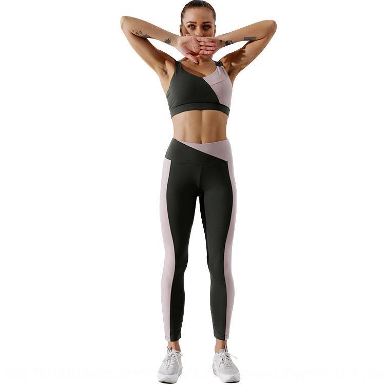 Yeni kontrast renk dikiş yoga takım kadın spor sutyeni çıkarılabilir göğüs pedi elastik İç spor pantolon çabuk kuruyan