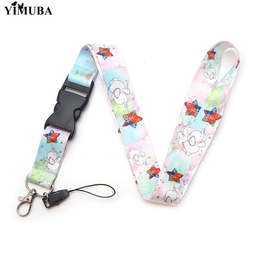 Yimuba Sky-blue Baby Elephant Lanyards Keychain Safety Usb Id Badge Holder Cell Phone Straps Key Chain for Autism Awareness Kids
