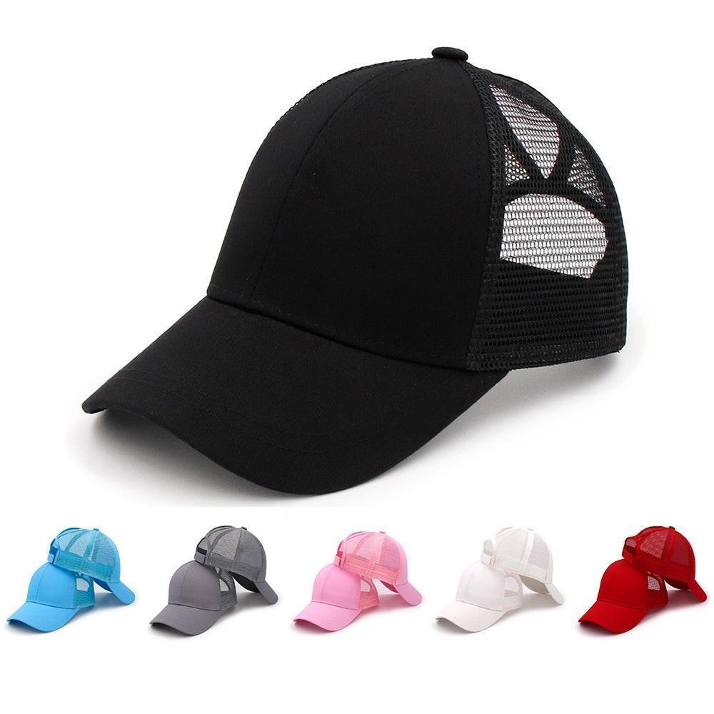 Visor Cap Baba Hat unisex düz katı at kuyruğu Beyzbol şapkası Dağınık Buns şapka Trucker Pony kapaklar Snapbacks c0256 açık yaz örgü