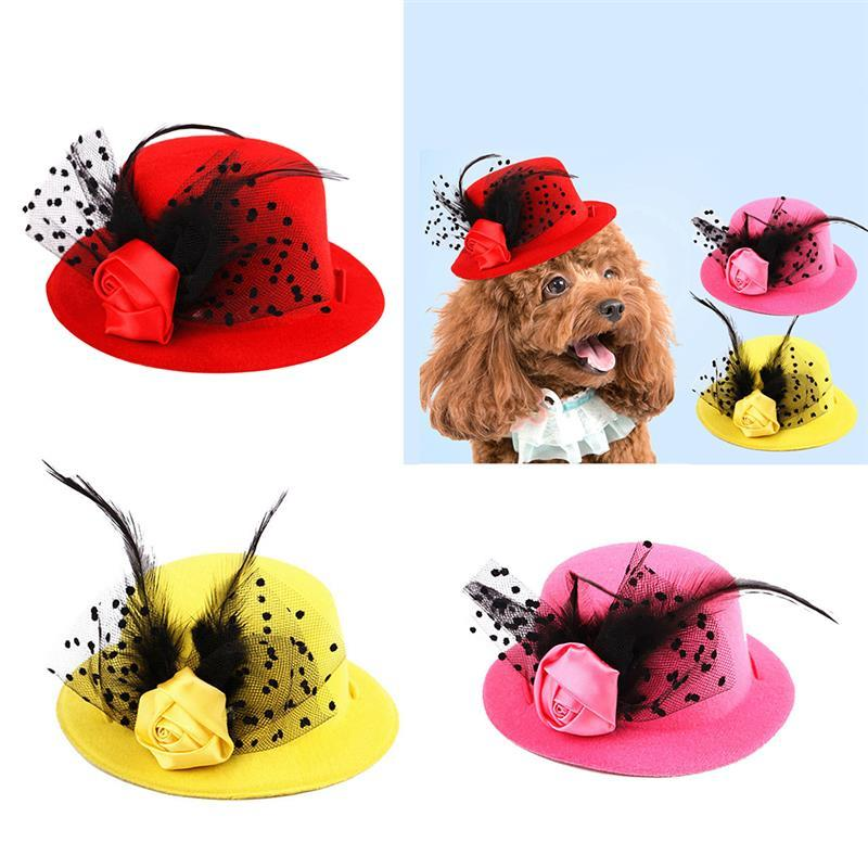 Fashion Fake Feather Flower Decor Pet Costume Hat Elegant Pet Banquet Party Hat For Dogs Cats Creative Clothing Accessories