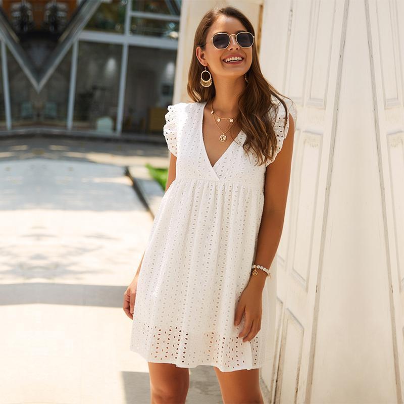 중공 아웃 짧은 드레스 여성의 새로운 섹시한 V 목 나비 슬리브 중공 레이스 드레스 캐주얼 느슨한 여름 여성 드레스