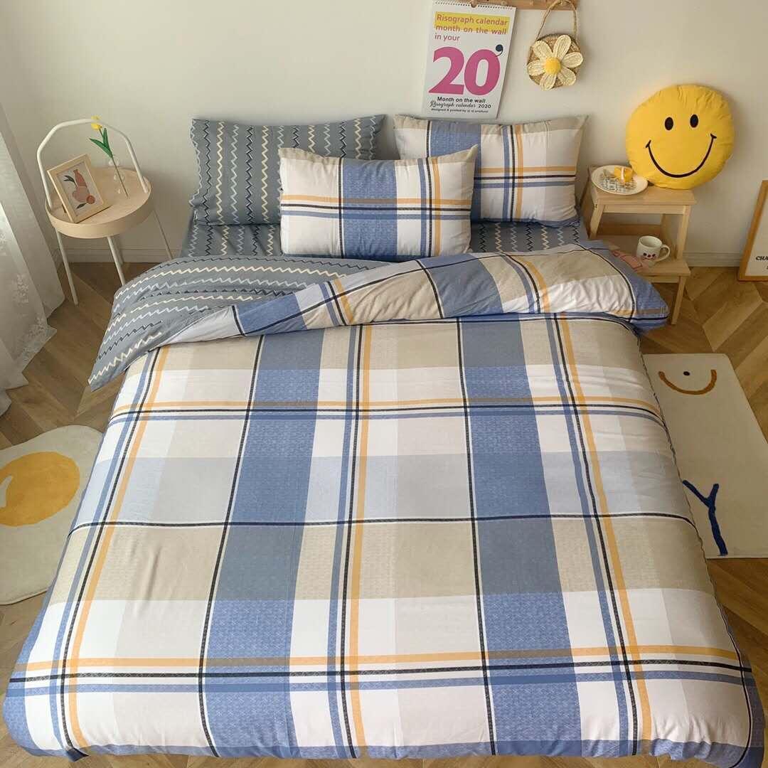 Plaid Pattern Bedding Sets Cotton Simple Comforter Sets Breathable Soft Duvet Cover Queen Quilt Cover Pillowcases