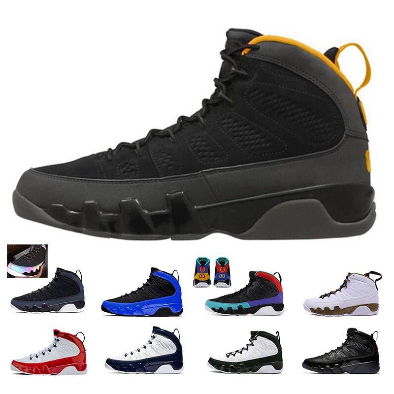 9 9s Erkekler Basketbol Ayakkabı Üniversite Altın Racer Mavi OG uzay sıkışması spor yapması çipura Bred kırmızı o spor ayakkabıları spor