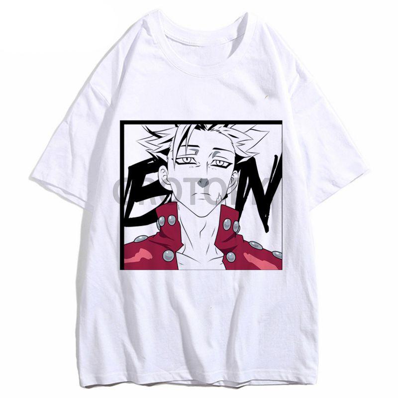 Los siete pecados capitales Meliodas Mujeres animado impresión camiseta de los hombres de moda de Harajuku Ban camisetas Hombre camiseta blanca camiseta de JANPANESE