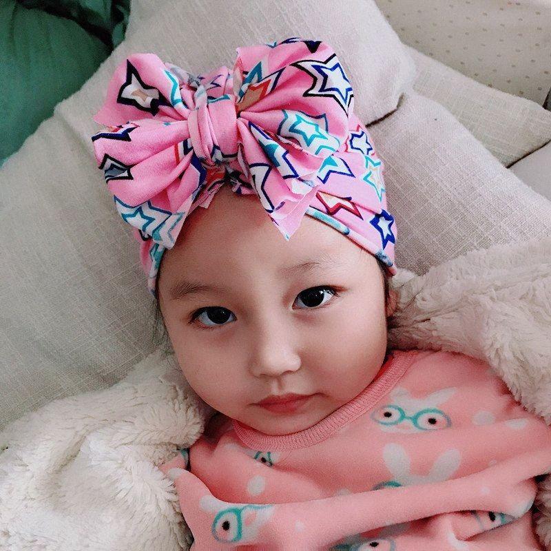 9 estilos precioso para niños Imprimir Bowknot grande del sombrero de la venda suave elástico floral ancha bandas del pelo lateral niños accesorios para el cabello pelo infantil Acc R6B8 #