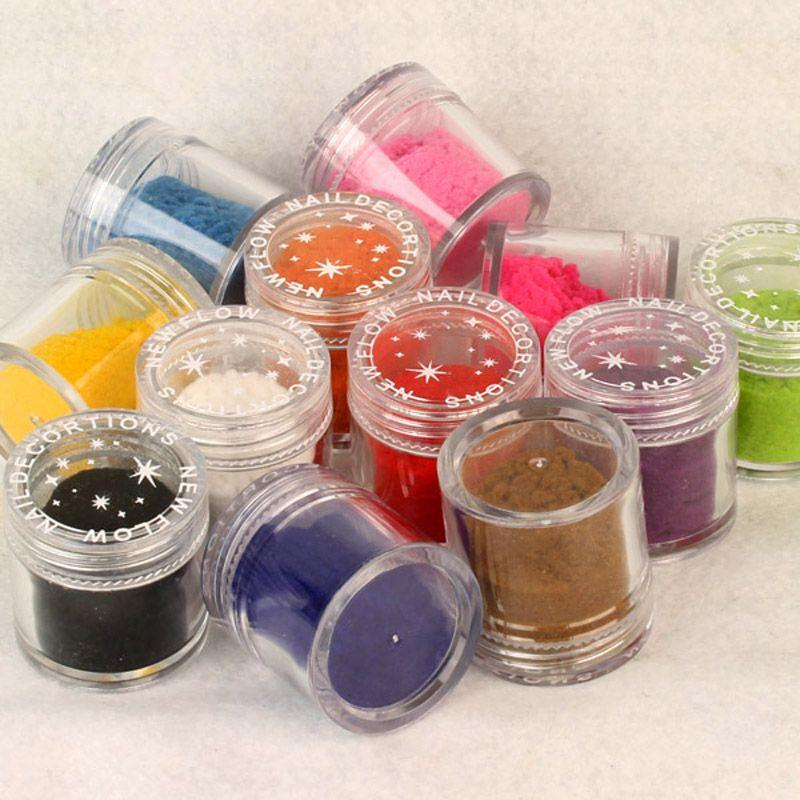 12 färger sammet flocking pulver glitter pigment damm för nagel art diy polska UV gel dekoration tips