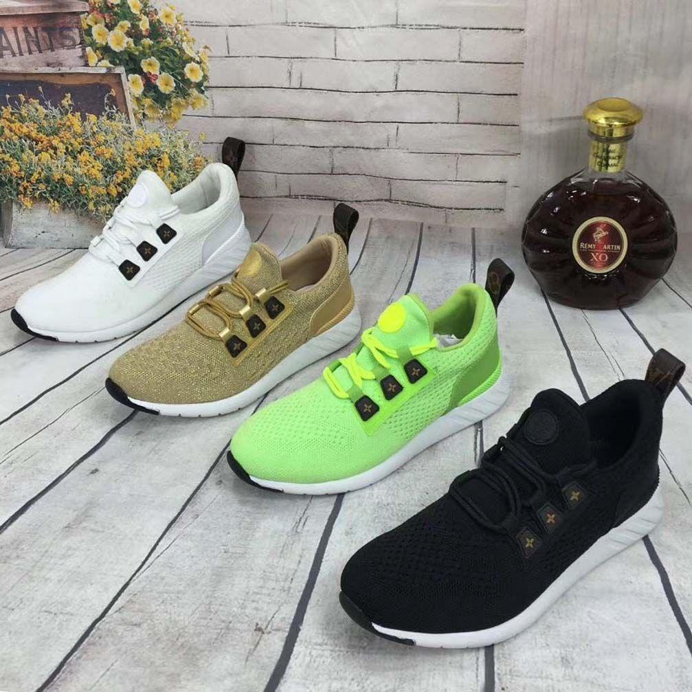 Мода Самой лучшего качества реальной кожи Handmade Многоцветного Gradient Технических ткани кроссовок женщины известная обувь 07 L56