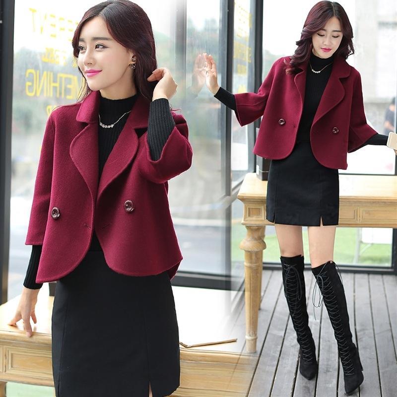 Lg3lj pvSGl Korean chic Woll Top 2020 Kleidung Wollmantel Wolle kurz und Herbst neue Frauen-Top koreanischen Stil Frühling lose lange Hülsenmantel f