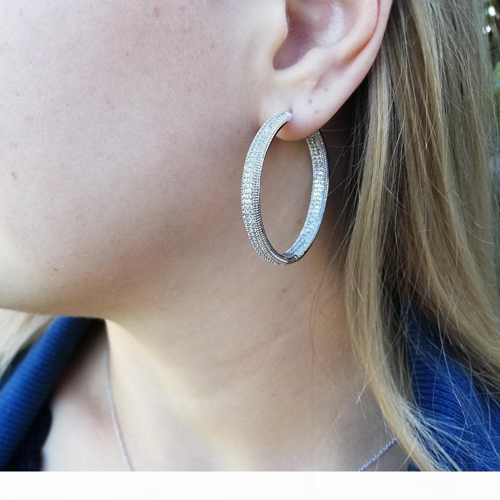 Top 4 cm de diámetro calidad de grandes pendientes de aro de la joyería blanca clásica joyería de envío rápido de las mujeres pendiente grande del círculo