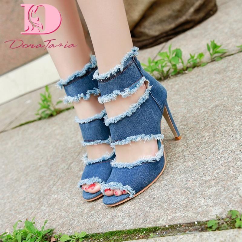 DoraTasia 2020 Brand Design Mulheres Denim Sandals Fino Salto Peep Toe Zipper Bombas verão Mulher Partido Shoes