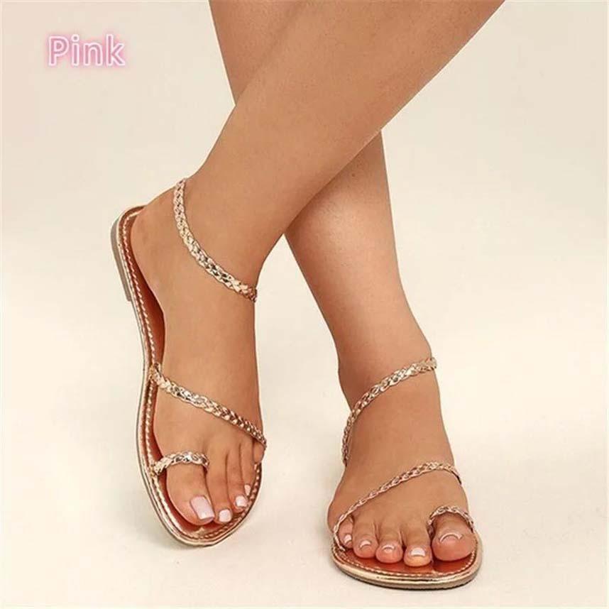 Las mujeres forman las sandalias del verano Pisos atractivas de cuero reales rsandals plataforma zapatos de los planos de la sandalia del deslizador playa para señoras zapatos bag04 P7