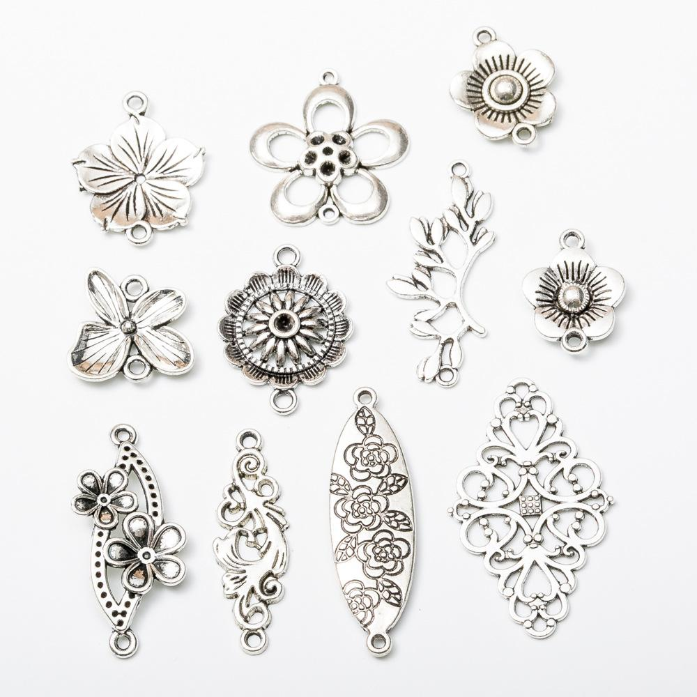 110pcs Mix Vintage tibetan silver filigree flower connector charms antique flower pendants for bracelet necklace earring diy jewelry making