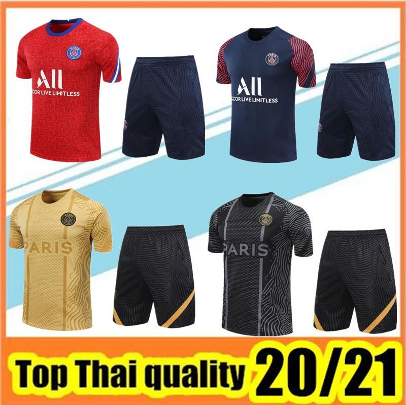 2020 2021 paris Kurzarm Trainings Mbappe CAVANI Trainingsanzug 20 21 Paris T-Shirt + kurze Hosen Fußball einheitliche