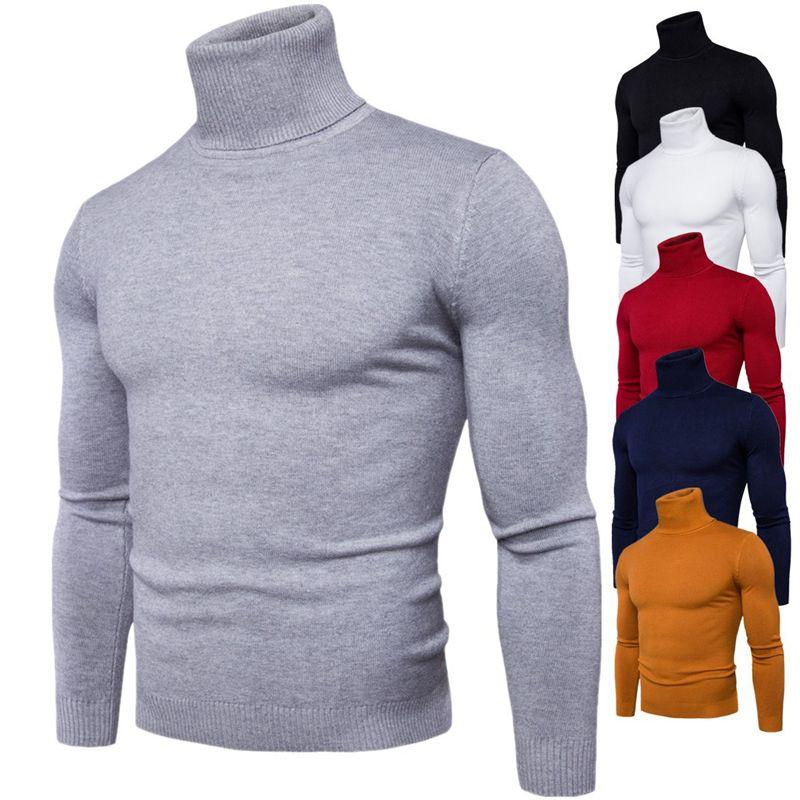 2020 Новый зимний мужской свитер мужской Водолазка Сплошной цвет Повседневный свитер Slim Fit Марка Трикотажное Толстые шерстяные пуловеры
