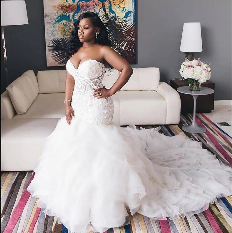 Элегантный Кружева Свадебные платья 2021 Милая Многоуровневое Юбки Русалка Свадебные платья аппликация Ivory Плюс Размер свадебное платье