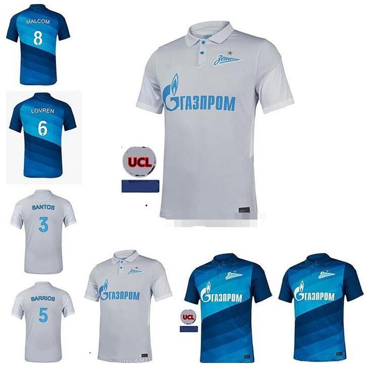 20 21 Top FC Zenit Saint-Pétersbourg Reinaldo Jersey de football Accueil Blue Gris Malcom Lovren 2020 2021 Shirt de football Santos Barrios