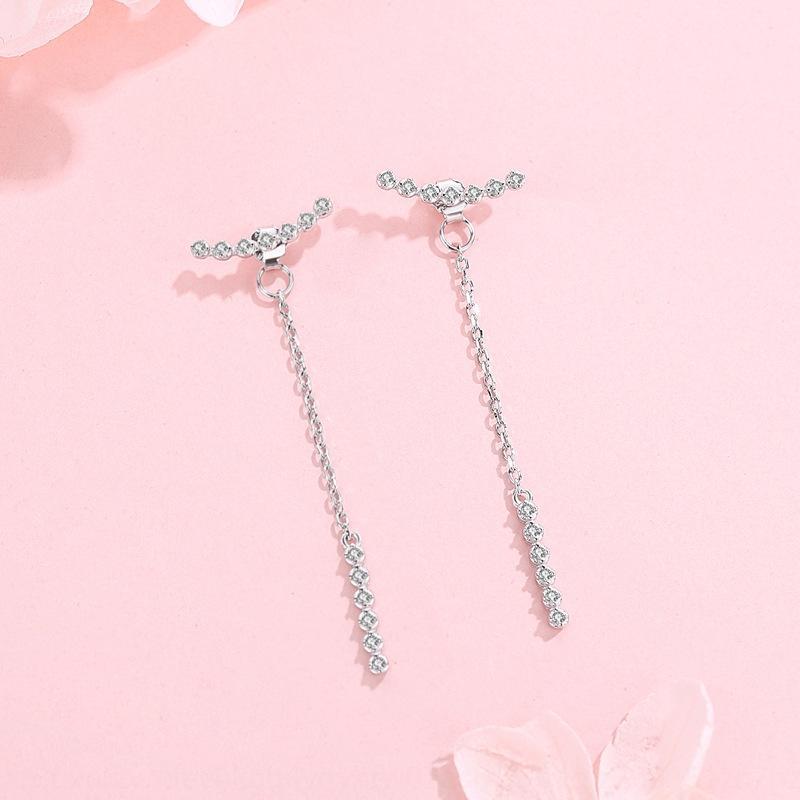 New Wancheng s925 prata sorrindo feminino estilo coreano ouro Secretário Earline simples e brincos de moda borla IqHyU