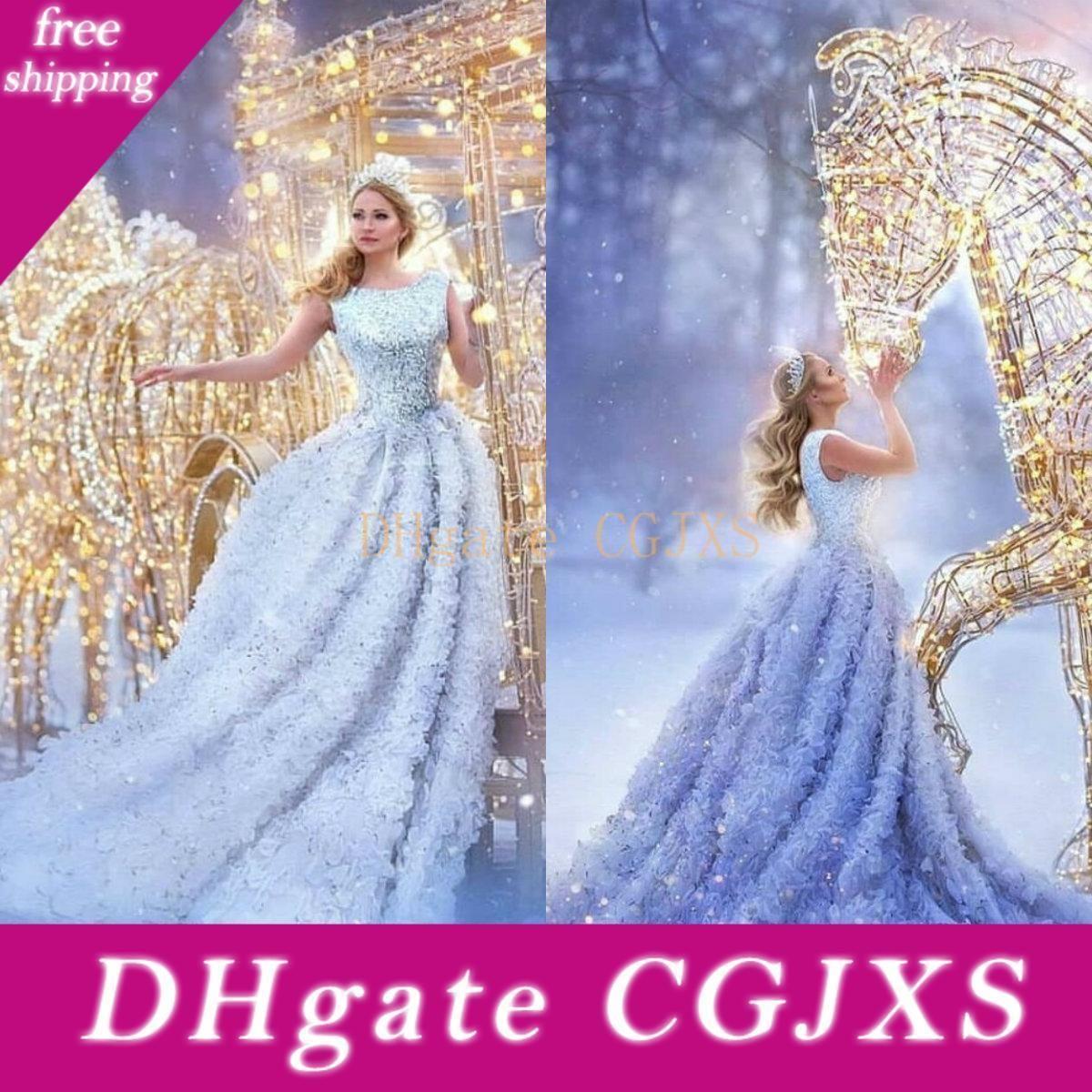 2020 luxe robes de soirée Jewel manches dentelle perlée Paillettes Party Robes Custom Made Sweep Trian longue Occasion spéciale Robe