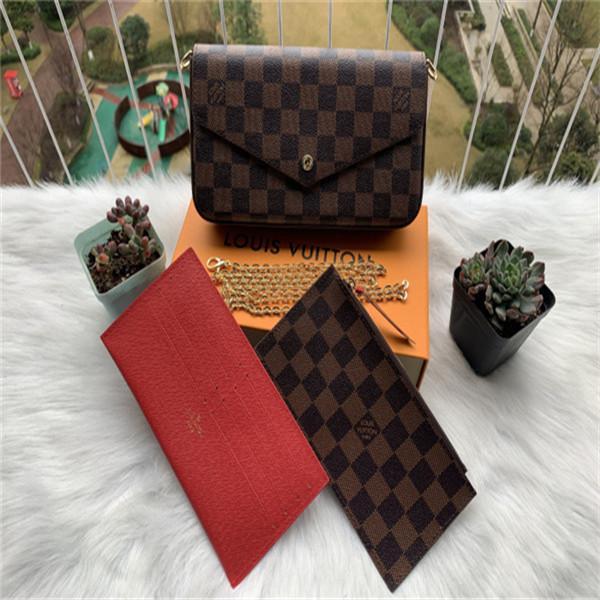 HOT 3pcs Satz klassische Art und Weise Frauen designger Handtaschen echten Rindleder Laser-Hardware diagonaler Schulterkettenbeutel Wallet Card Taschen