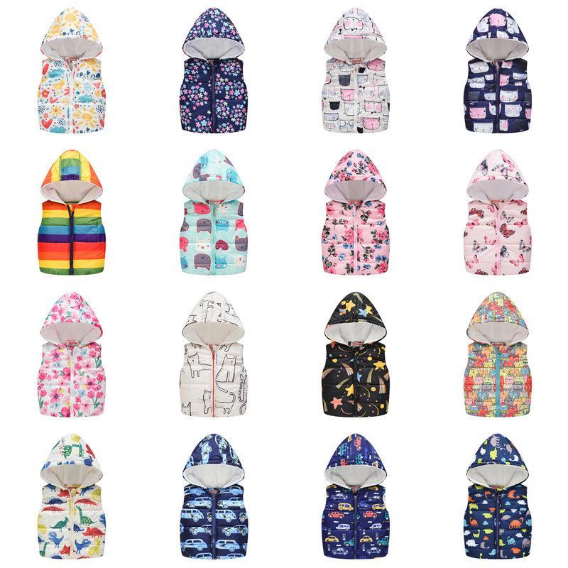 Moda Vest per ragazzi ragazze con cappuccio in cotone giacca invernale della neonata vestiti ragazzo gilet con cappuccio bambini senza maniche Cappotti Bambino Outerwear LJ200814