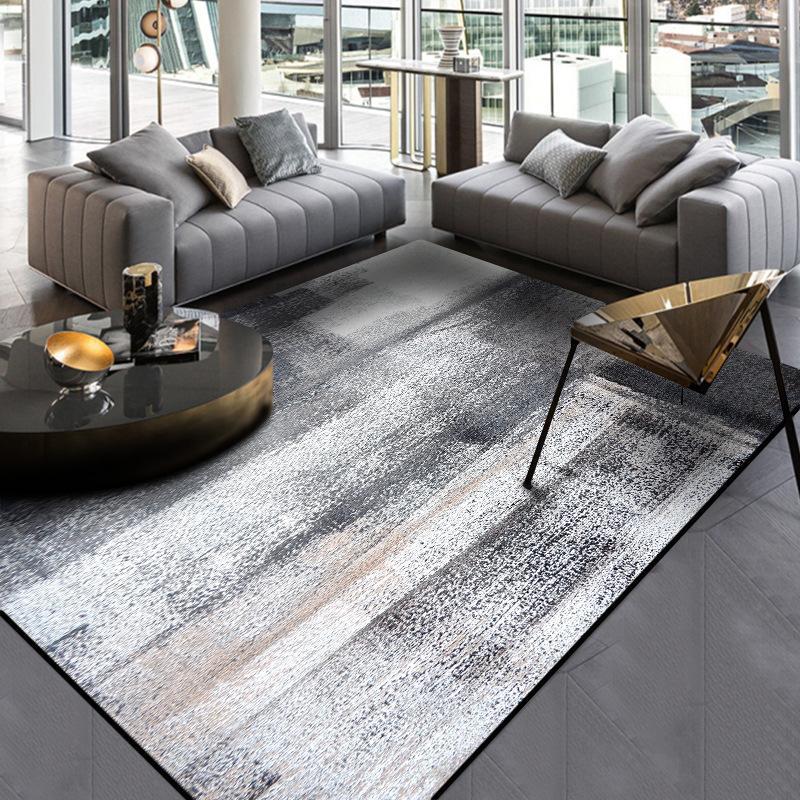 Özet Mürekkep boyama halı koyu gri renkli yatak odası peluş halı mutfak Kapı mat Oturma odası paspas özel yapılmış