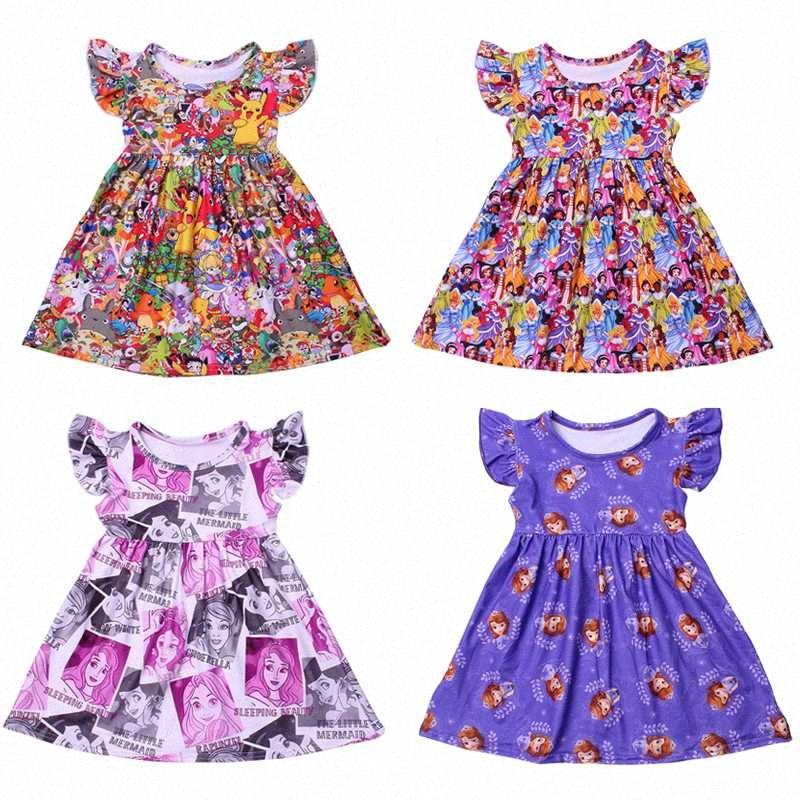 Prenses Çocuk Elbise Kız Butik Yaz Giyim Bebek Süt İpek Flutter Kol Elbise Kız Karikatür Charactor Kostüm FJB4 #