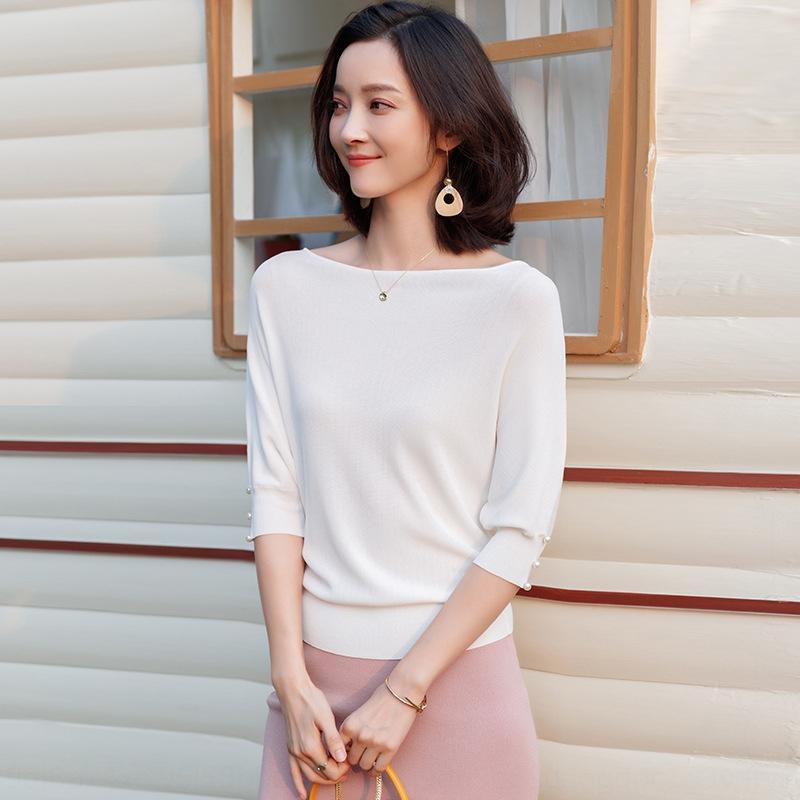 xf9aG DlHhe 2019 inizio autunno stile Nuovo Medio coreano moda sciolto perline aut maglieria maglione semplice ins T-shirt maniche delle donne all'inizio B