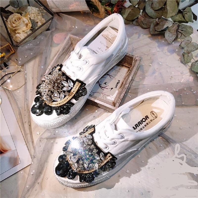 JELLYFOND Kadınlar Tuval Dantel-up Düşük Yüksek Top Sneakers sepet Femme kristal lüks beyaz kadınlar ayakkabı Ayakkabı