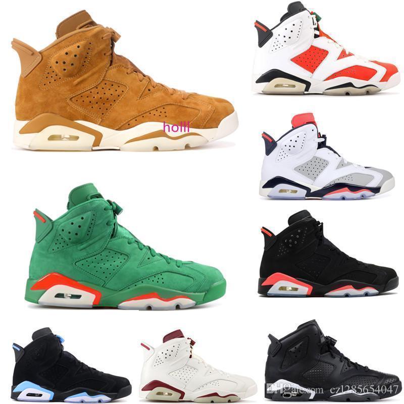 UNC hombres 2019 6 zapatos de baloncesto Gatorade verde limitada cosecha de oro de los hombres s zapatillas de deporte clásicas 6s zapatos atléticos de los deportes para los hombres con la caja