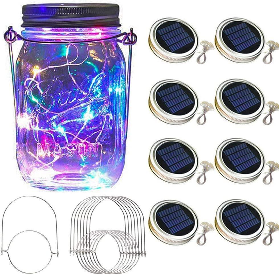Mason Jar Güneş Fener Işık, 8 Paketi 30 LED Ampuller Peri Yıldız Firefly Güneş Kapaklar Kavanoz Işık, 8 Askıları Dahil (Kavanozlar Dahil)