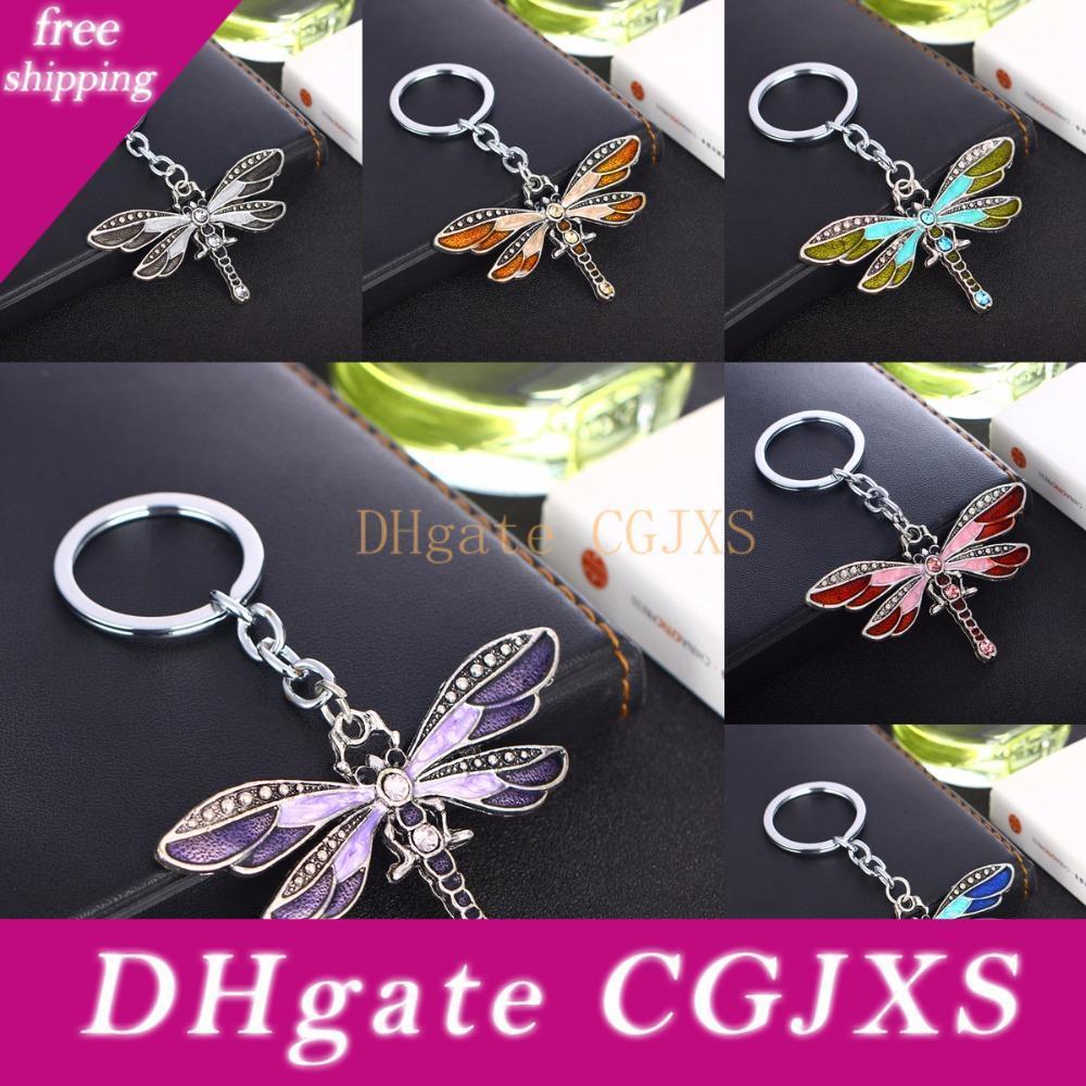 Cristal papillon Keychain Bohème Libellule Pendentifs femmes Keyring Dames Bijoux Cadeaux Charms animaux Porte-clés Sacs de voiture télécommandes