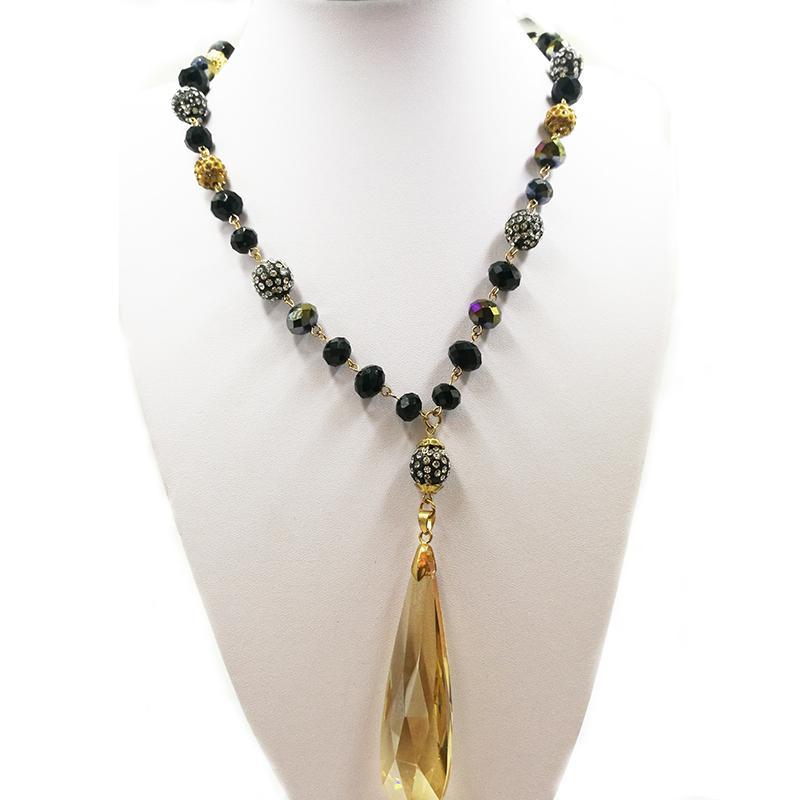 Grande catena di cristallo in rilievo di vetro lunga collana con pendente a goccia
