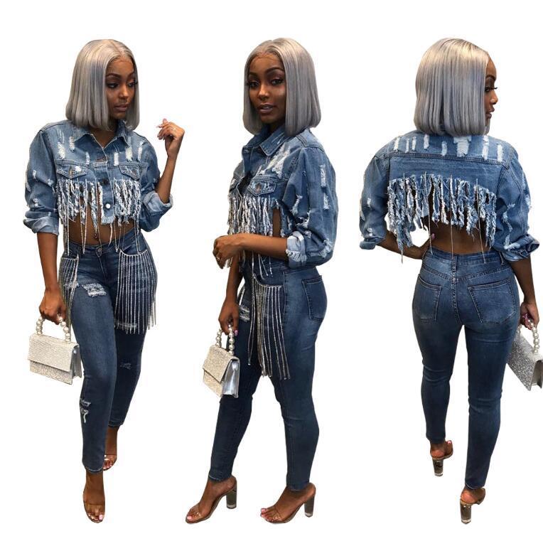 Yeni Moda Tasarımcısı Kadınlar Püskül Tişörtü İlkbahar Sonbahar Sıcak Marka Ceket Casual Asimetrik Uzunluğu Streetwear S-2XL için Demin ceketler