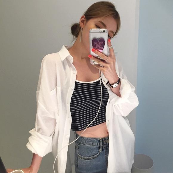 beyaz uzun kollu gömlek bf Kadın Kore tarzı orta boy Üst Kat gömlek PbzaB Güneş geçirmez gevşek ince perspektif pamuk ve keten üst yaz