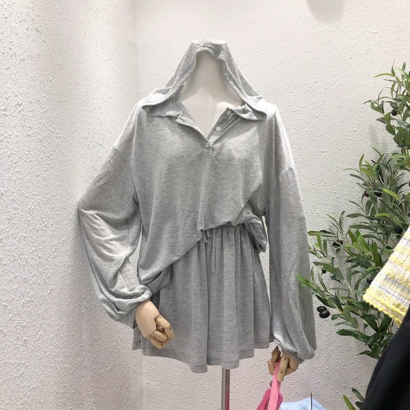 q6Lkk coreano Dongdaemun vita alta cappotto con cappuccio + elastico 2020 Estate ERNUH stile banda temperamento dimagrante pantaloni corti gomma panno sciolto