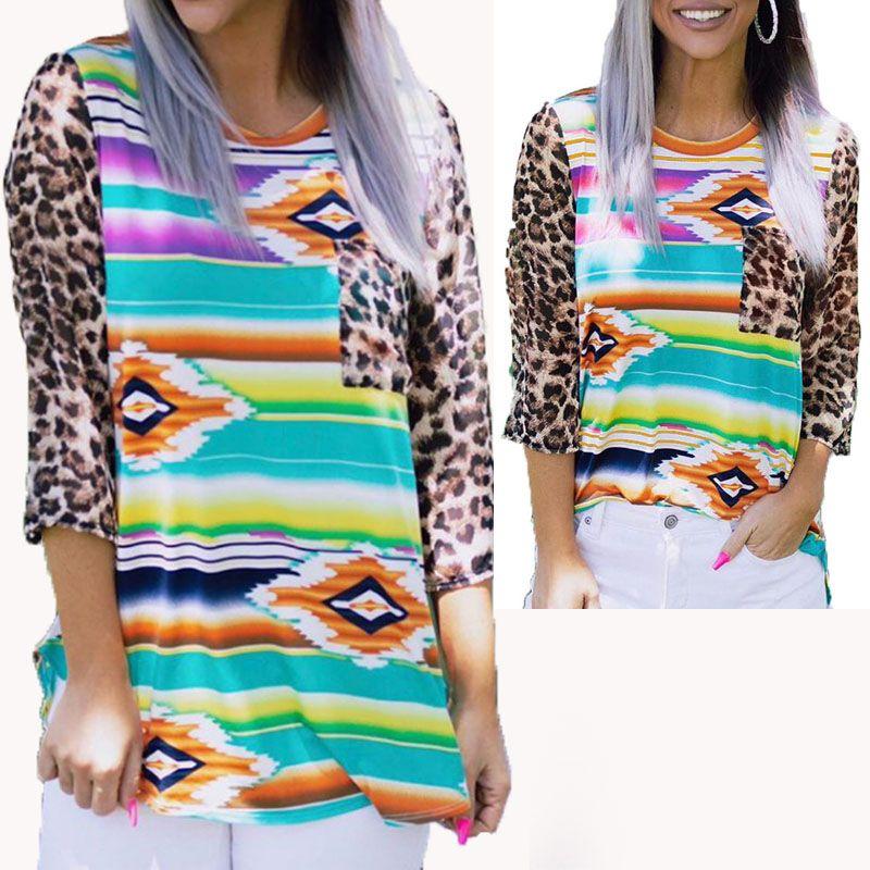 Leopardo de invierno impresión Mujeres camisas sport camiseta de manga larga de alta calidad de la camiseta de la mujer s ropa de moda suéter con capucha de la muchacha Camisa