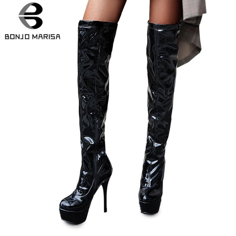 BONJOMARISA Nueva Invierno 32-46 de la plataforma de la PU de Patentes Muslo Botas Altas Partes atractivo de las mujeres sobre la rodilla botas de tacones altos de los zapatos de mujer