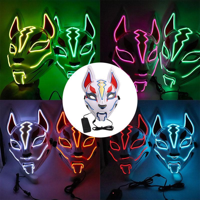 Tianhu Luminous лица Маски Fox Halloween Party Cat Face Mask LED Карнавальная ночь маска маска для лица Показать Dropshipping F1101