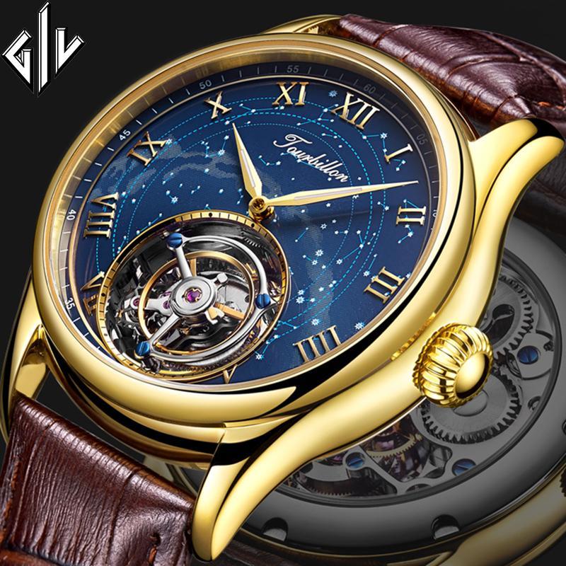 Tourbillon GIV 2020 nuovi uomini orologi reale Tourbillon orologio top brand di lusso della mano del vento orologio meccanico Relogio Masculino T200812