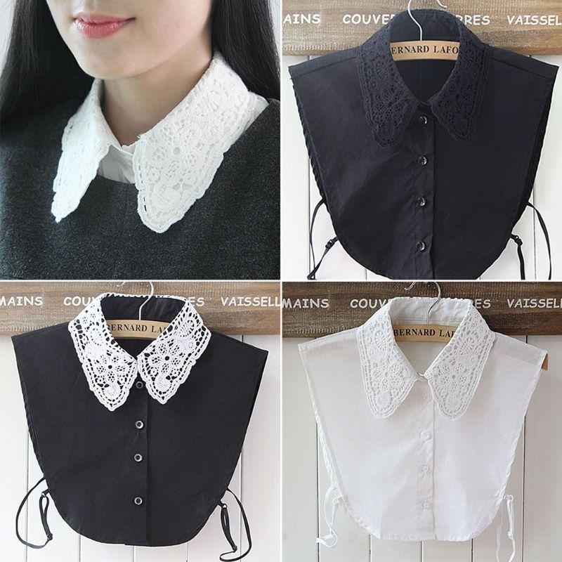 Shirt-Fälschungs-Kragen Weiß Black Tie Vintage-abnehmbarer Kragen-Falsch-Revers Bluse Top-Frauen-Kleidung Zubehör